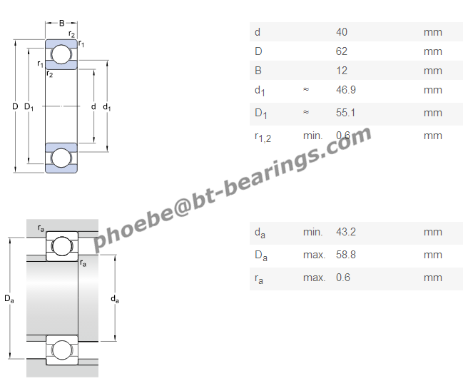 Wear Resistant Fag Deep Groove Ball Bearing , Thin Section Bearing 40 x 62 x 12mm