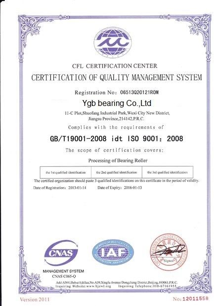 China YGB Bearing Co.,Ltd Certifications